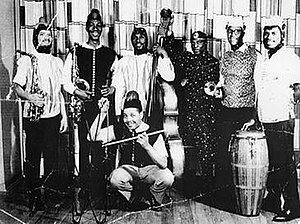 Interstellar Low Ways - The Arkestra in 1960; l-r, Marshall Allen, John Gilmore, Ronnie Boykins, Ricky Murray (crouching), Sun Ra, Walter Strickland and Billy Mitchell