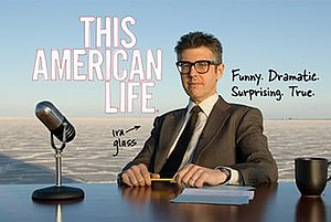 This American Life (TV series) - Host Ira Glass sitting at his desk in a promotional card for This American Life