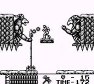 Castlevania II: Belmont's Revenge - Belmont battling one of the bosses