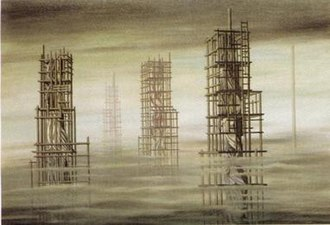 Kay Sage - In Tomorrow Is Never of 1955, rudiments of architecture enclose suggestions of human forms within.