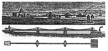 Three views of a suspension pier made up of one large platform at the right, and two smaller ones, connected by a narrow deck suspended from curves of chain standing on the platforms. The large platform is rectangular in plan, and the other two are diamond-shaped.