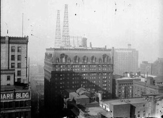 WMAQ (AM) - WMAQ transmitter towers atop La Salle Hotel, where the studios were also located–1925.