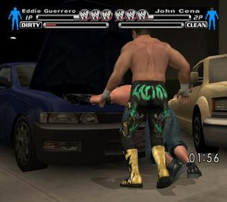 WWE SmackDown! vs. Raw - Screenshot of the new Parking Lot Brawl, featuring Eddie Guerrero and John Cena.