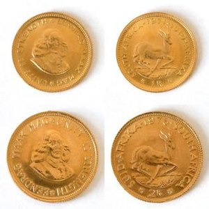 Jan van Riebeeck - Jan van Riebeeck on the obverses of two gold coins of South Africa