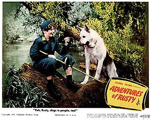 """Ace the Wonder Dog - Lobby card for Adventures of Rusty (1945), the first of eight """"Rusty"""" films, and the only one starring Ace the Wonder Dog"""