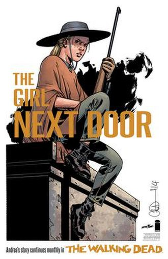 """Andrea (The Walking Dead) - A promotional image of Andrea in """"A New Beginning"""" set two years after the war with Negan. Art by Charlie Adlard."""