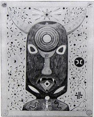 Doreen Valiente - Valiente's painting of the head of Atho, a form of the Horned God.