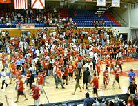 FAU celebrates a basketball victory