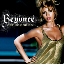 "A woman is standing with her right hand on her hip. She is wearing a low cut green dress, and dark eye liner and hair piled high on her head. Next to her, the words ""Beyoncé"" and ""Get Me Bodied"" are written in white letters."