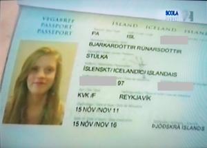 """Icelandic Naming Committee -  Passport of Blær Bjarkardóttir Rúnarsdóttir, using Stúlka (Icelandic for """"girl"""") in place of her real given name"""