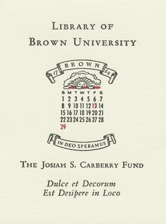 Josiah S. Carberry - Bookplate for Brown University Library books purchased by the Josiah S. Carberry Fund.
