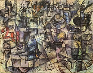 Carlo Carrà - Image: Carlo Carrà, 1911, Rhythms of Objects (Ritmi d'oggetti), oil on canvas, 53 x 67 cm, Pinacoteca di Brera