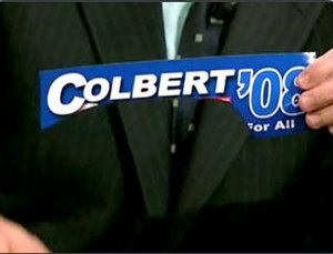 Stephen Colbert presidential campaign, 2008 - Colbert's campaign bumper sticker. Jon Stewart was previously listed under his name as his running mate.