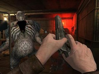 Call of Cthulhu: Dark Corners of the Earth - The game's entirely HUD-less first-person view presentation lacks typical FPS features such as ammo and health indicators or aiming reticle
