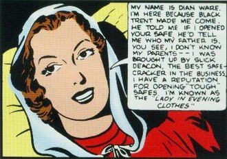 "Dian Belmont - Dian from her first appearance in her ""Woman in Evening Clothes"" guise. Art by Ogden Whitney."