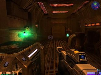 Star Trek: Elite Force II - A screenshot from the game depicting a shootout between the player and the Romulans in a simulated scenario.