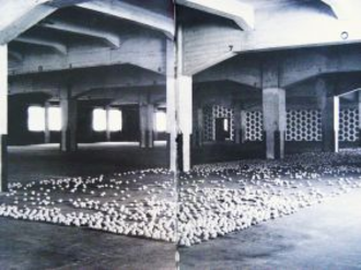 Young British Artists -  View of East Country Yard Show with Anya Gallaccio's installation in foreground, 1990.