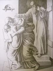 Elisha raises the Shunamite woman's son. Woodcut by Julius von Carolsfeld (1794-1872), published in 1840 in Bibeleni Billender.