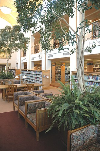 Everett Public Library - Everett Public Library's vault-ceilinged main reading room. Behind the trees, a truncated second floor overlooks the space. Photo by Cameron Johnson.