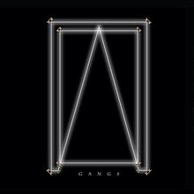 "Two connected white rectangles and a triangle illuminate against a black background. Centred white text below reads ""Gangs""."