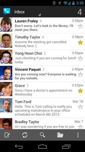 Google Voice - Example of Google Voice inbox running on Android Jellybean