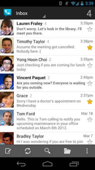 Google Voice - Example of Google Voice inbox running on Android Jellybean