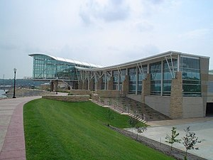 The Grand River Center overlooks the Mississippi River in the Port of Dubuque.