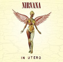 A fairy with human innards is visible below the bands name The title of the album In Utero appears below the fairy