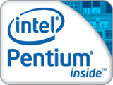 "A wide rectangle, with the top right containing, all in medium blue, an oval surrounding the word ""intel"", with all letters lower case. The other half contains, in blue letters, the phrase ""Pentium inside"", with the P capitalized."