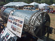 American Eagle supersonic car display engine shows compressor blades smaller at each stage