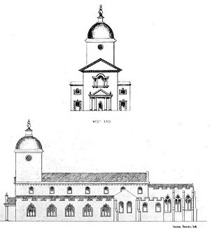 Llandaff Cathedral - John Wood's plan to complete his work at Llandaff Cathedral. The eastern portion of the building, seen at right, is where Wood actually did work. The western portion, at left, is the porch and tower Wood proposed but never constructed.