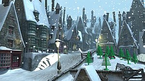Hogsmeade village in the game.