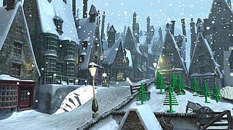 Lego Harry Potter: Years 1–4 - Hogsmeade village in the game.