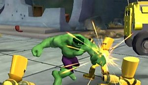Marvel Super Hero Squad (video game) - The Hulk battles A.I.M. soldiers