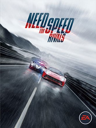 Need for Speed Rivals - Cover art featuring a Ferrari F12 being chased by a Koenigsegg Agera police car.