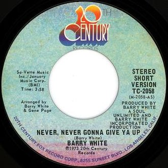 Never, Never Gonna Give Ya Up - Image: Never, Never Gonna Give Ya Up US vinyl Side A 20th century fox