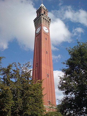 Clock tower - 'Old Joe' in Birmingham, UK: the tallest free-standing clock tower in the world.
