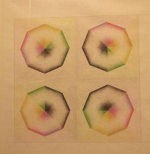 "Orgasm - Study for Pasadena Lifesavers, prismacolor, 1968. Judy Chicago created the Pasadena Lifesavers, a series of abstract paintings that blended colors to create an illusion that the shapes ""turn, dissolve, open, close, vibrate, gesture, wiggle,"" to represent her own discovery that she was multi-orgasmic."