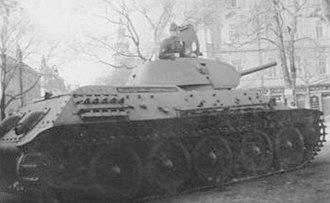 Prague uprising - An ROA T-34 tank in Prague.