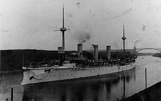 SMS Gefion - Gefion in the Kiel Canal sometime in the mid-1890s; the Levensau High Bridge is visible in the background