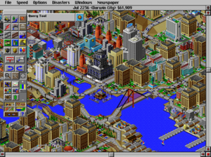 SimCity 2000 - Screenshot of a typical city during an intermediate stage of the game