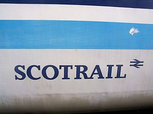 ScotRail (brand) - Regional Railways ScotRail branding on Mark 2 coach number 5174 at the Northampton & Lamport Railway on 26 January 2008