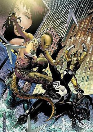 Sinister Syndicate - Komodo and The Sinister Syndicate fighting Spider-Man. Art by Jim Cheung.