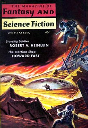 Starship Troopers - The cover of The Magazine of Fantasy and Science Fiction (November 1959), illustrating Starship Soldier