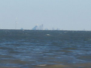 A picture of the Toronto skyline viewed from across Lake Ontario (Niagara-on-the-Lake, ON).