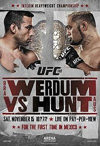A poster or logo for UFC 180: Werdum vs. Hunt.