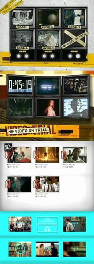 Video on Trial - Video on Trial features five music videos being critiqued in a courtroom-esque manner; the above image shows the opening segment of each episode that introduces the five videos, seen with the different visuals the series has used throughout the two formats it has undergone.