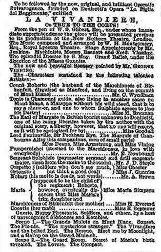 La Vivandière (Gilbert) - Advertisement for the Liverpool premiere