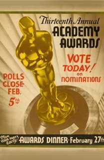 13th Academy Awards Award ceremony for films of 1940