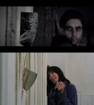 Alan Wake - Alan Wake includes many references to works of popular culture. This cutscene directly alludes to a famous scene from The Shining.